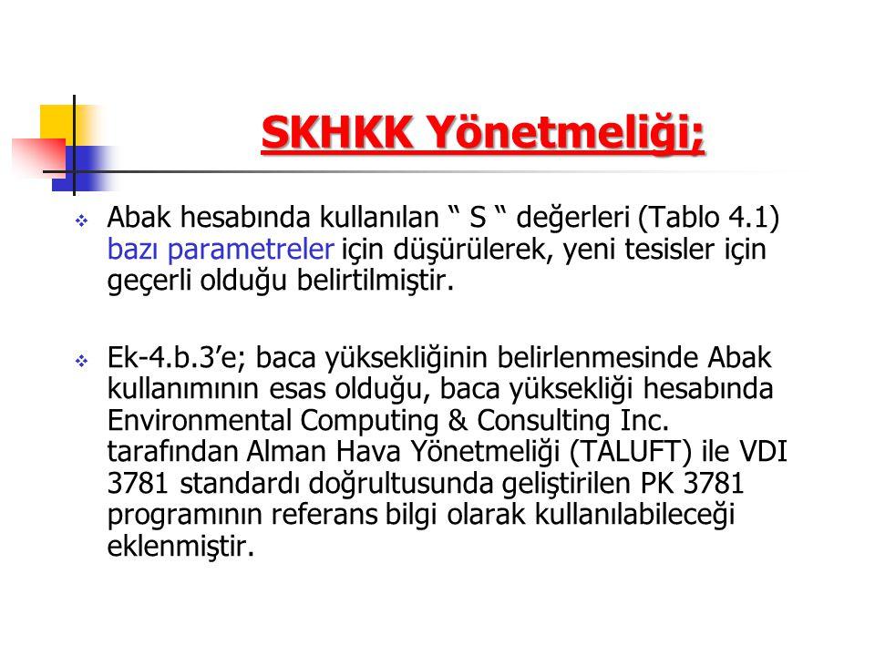 SKHKK Yönetmeliği;  Abak hesabında kullanılan S değerleri (Tablo 4.1) bazı parametreler için düşürülerek, yeni tesisler için geçerli olduğu belirtilmiştir.