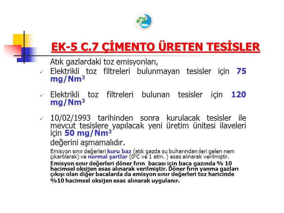 Atık gazlardaki toz emisyonları, Elektrikli toz filtreleri bulunmayan tesisler için 75 mg/Nm 3 Elektrikli toz filtreleri bulunan tesisler için 120 mg/Nm 3 10/02/1993 tarihinden sonra kurulacak tesisler ile mevcut tesislere yapılacak yeni üretim ünitesi ilaveleri için 50 mg/Nm 3 değerini aşmamalıdır.