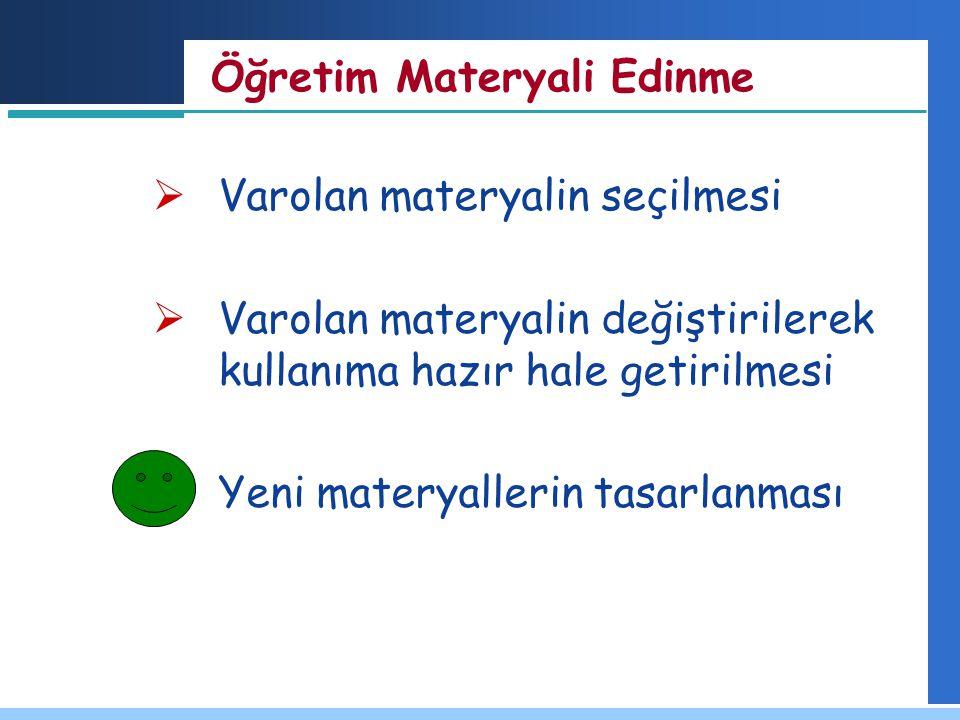Öğretim Materyali Edinme  Varolan materyalin seçilmesi  Varolan materyalin değiştirilerek kullanıma hazır hale getirilmesi  Yeni materyallerin tasa