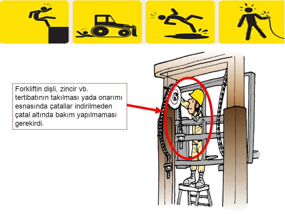 Forkliftin dişli, zincir vb. tertibatının takılması yada onarımı esnasında çatallar indirilmeden çatal altında bakım yapılmaması gerekirdi.