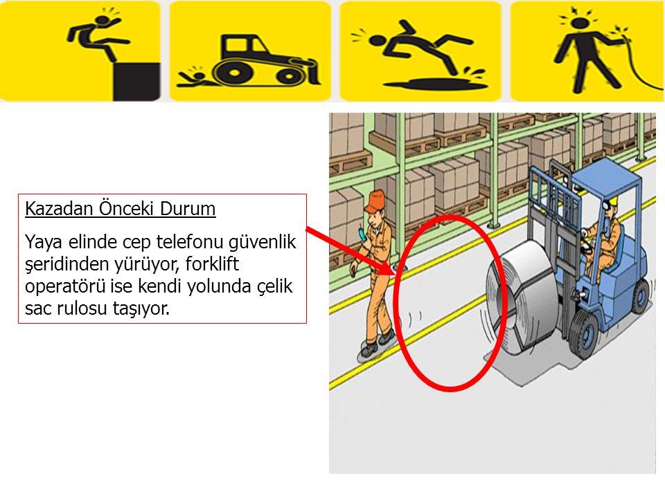 Kazadan Önceki Durum Yaya elinde cep telefonu güvenlik şeridinden yürüyor, forklift operatörü ise kendi yolunda çelik sac rulosu taşıyor.
