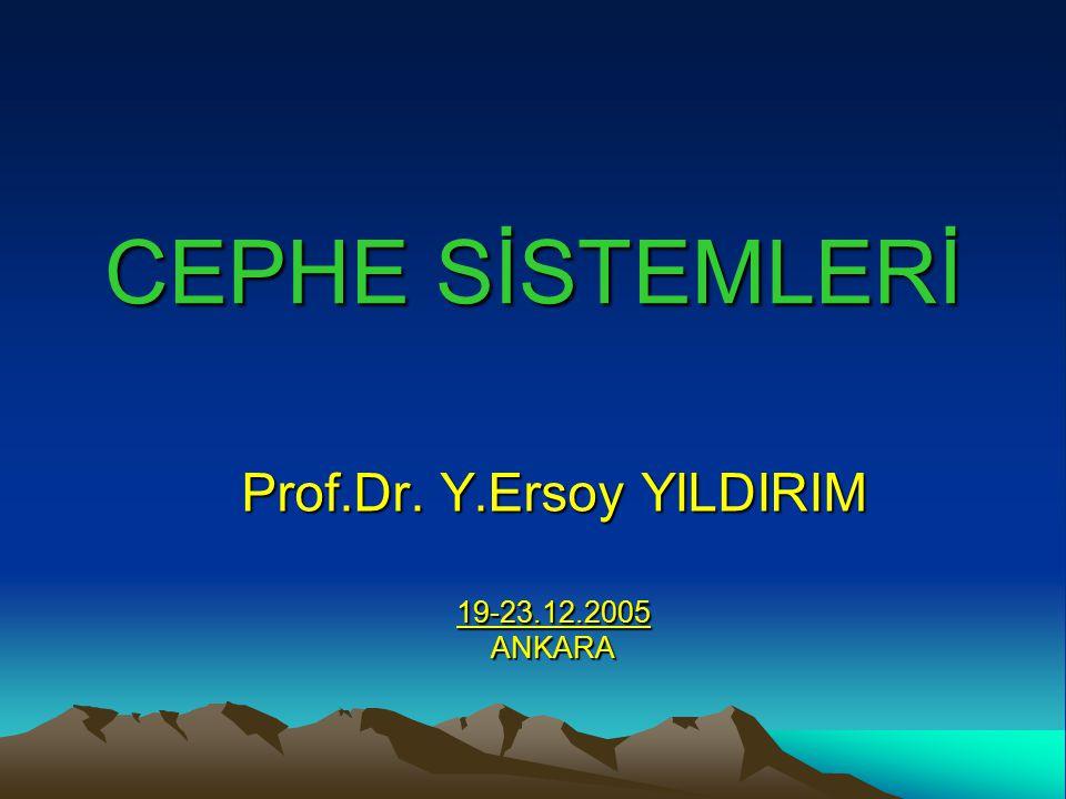 CEPHE SİSTEMLERİ Prof.Dr. Y.Ersoy YILDIRIM 19-23.12.2005ANKARA