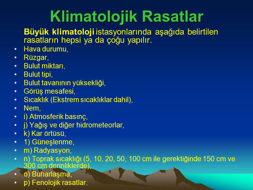 Klimatolojik Rasatlar Büyük klimatoloji istasyonlarında aşağıda belirtilen rasatların hepsi ya da çoğu yapılır. Hava durumu, Rüzgar, Bulut miktarı, Bu