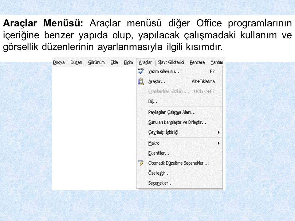 Araçlar Menüsü: Araçlar menüsü diğer Office programlarının içeriğine benzer yapıda olup, yapılacak çalışmadaki kullanım ve görsellik düzenlerinin ayar