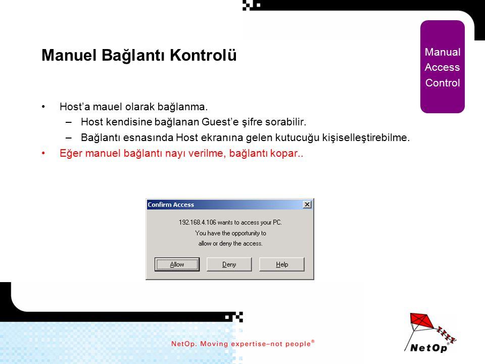 Manuel Bağlantı Kontrolü Host'a mauel olarak bağlanma. –Host kendisine bağlanan Guest'e şifre sorabilir. –Bağlantı esnasında Host ekranına gelen kutuc