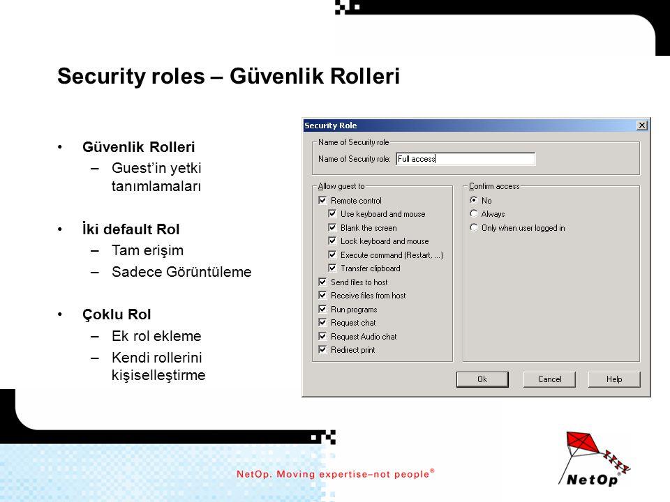 Security roles – Güvenlik Rolleri Güvenlik Rolleri –Guest'in yetki tanımlamaları İki default Rol –Tam erişim –Sadece Görüntüleme Çoklu Rol –Ek rol ekl