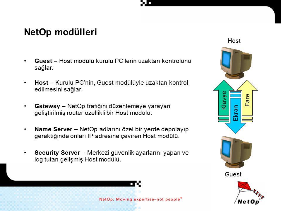 NetOp modülleri Guest – Host modülü kurulu PC'lerin uzaktan kontrolünü sağlar. Host – Kurulu PC'nin, Guest modülüyle uzaktan kontrol edilmesini sağlar