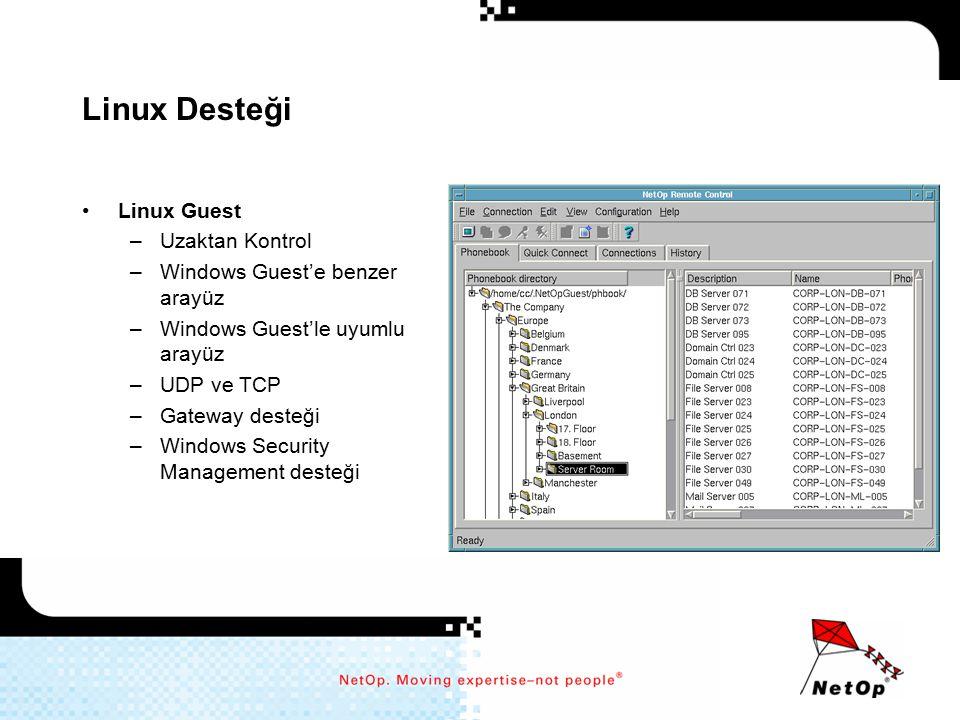 Linux Desteği Linux Guest –Uzaktan Kontrol –Windows Guest'e benzer arayüz –Windows Guest'le uyumlu arayüz –UDP ve TCP –Gateway desteği –Windows Securi