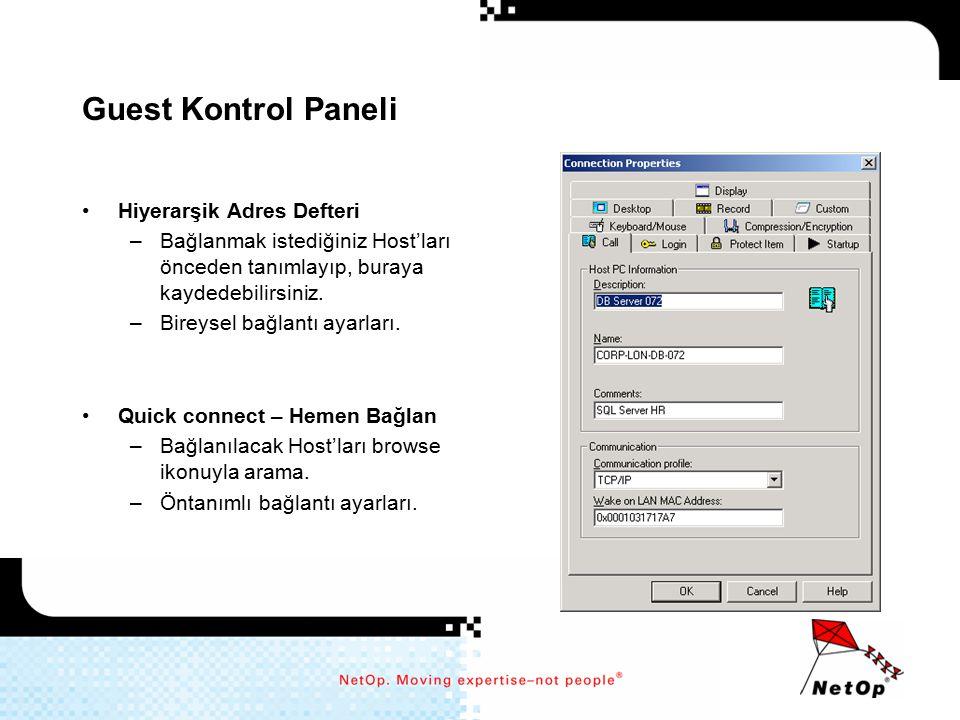 Guest Kontrol Paneli Hiyerarşik Adres Defteri –Bağlanmak istediğiniz Host'ları önceden tanımlayıp, buraya kaydedebilirsiniz. –Bireysel bağlantı ayarla