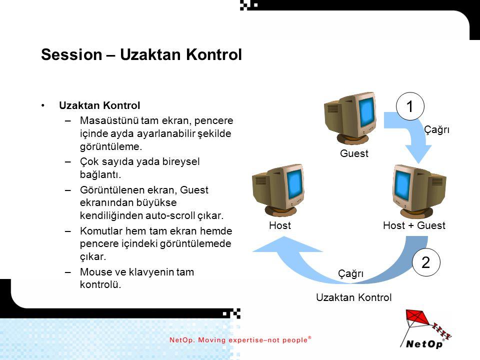 Session – Uzaktan Kontrol Uzaktan Kontrol –Masaüstünü tam ekran, pencere içinde ayda ayarlanabilir şekilde görüntüleme. –Çok sayıda yada bireysel bağl