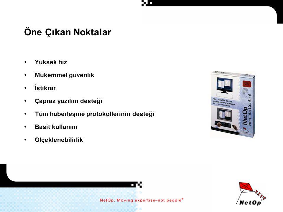Mükemmel Farklı İşletim Sistemleri Arası Destek Windows XP, 2000, Terminal Server, NT 4.0, NT 3.51, ME, 98, 95 –Guest ve Host tam fonksiyonel Windows CE –Guest uzaktan kontrol –Host uzaktan kontrol ve yazılı chat ActiveX –Guest uzaktan kontrol Linux –Guest uzaktan kontrol –Host uzaktan kontrol, yazılı chat, dosya transferi Solaris –Host uzaktan kontrol, yazılı chat, dosya transferi Symbian OS –Guest uzaktan kontrol