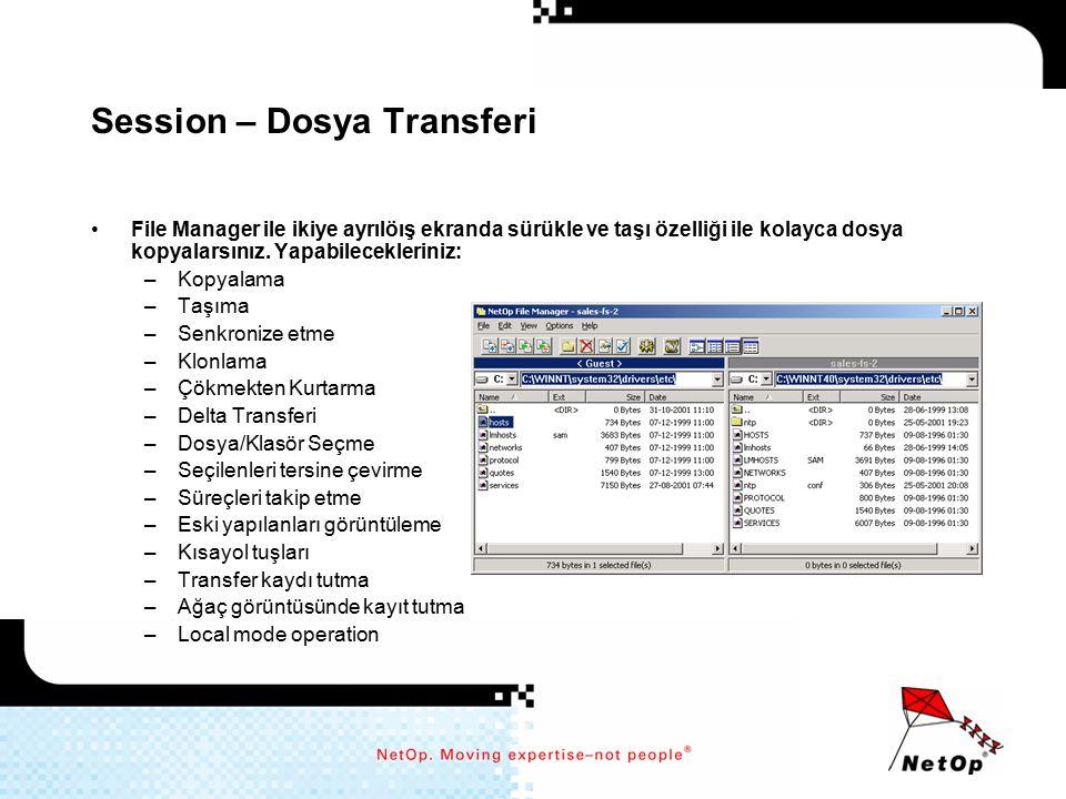 Session – Dosya Transferi File Manager ile ikiye ayrılöış ekranda sürükle ve taşı özelliği ile kolayca dosya kopyalarsınız. Yapabilecekleriniz: –Kopya