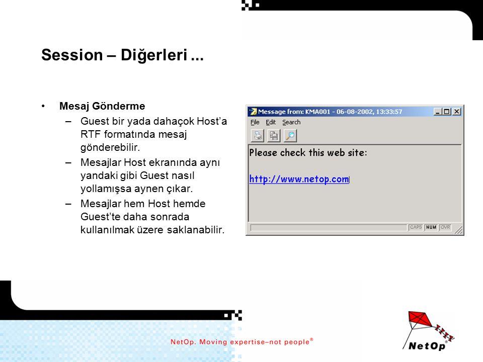 Session – Diğerleri... Mesaj Gönderme –Guest bir yada dahaçok Host'a RTF formatında mesaj gönderebilir. –Mesajlar Host ekranında aynı yandaki gibi Gue