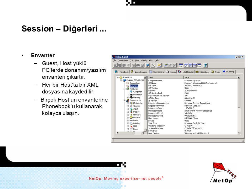 Session – Diğerleri... Envanter –Guest, Host yüklü PC'lerde donanım/yazılım envanteri çıkartır. –Her bir Host'ta bir XML dosyasına kaydedilir. - Birço