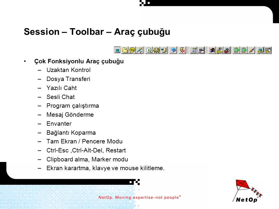 Session – Toolbar – Araç çubuğu Çok Fonksiyonlu Araç çubuğu –Uzaktan Kontrol –Dosya Transferi –Yazılı Caht –Sesli Chat –Program çalıştırma –Mesaj Gönd