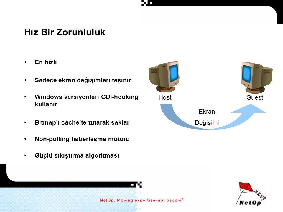 Ölçeklenebilirlik NetOp her tür şirkete uygun şekilde ölçeklenebilir –Guest telefon rehberi 1 Host'tan disk alanınızın izin verdiği kapasiteye kadar sınırsız isim tutar.