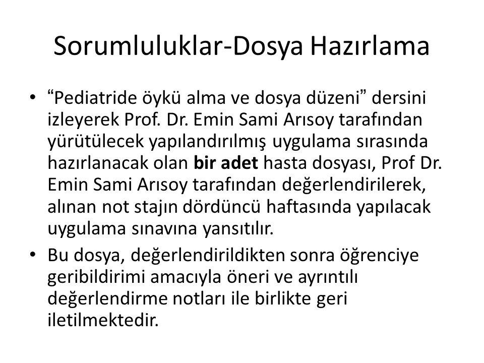 """Sorumluluklar-Dosya Hazırlama """"Pediatride öykü alma ve dosya düzeni"""" dersini izleyerek Prof. Dr. Emin Sami Arısoy tarafından yürütülecek yapılandırılm"""