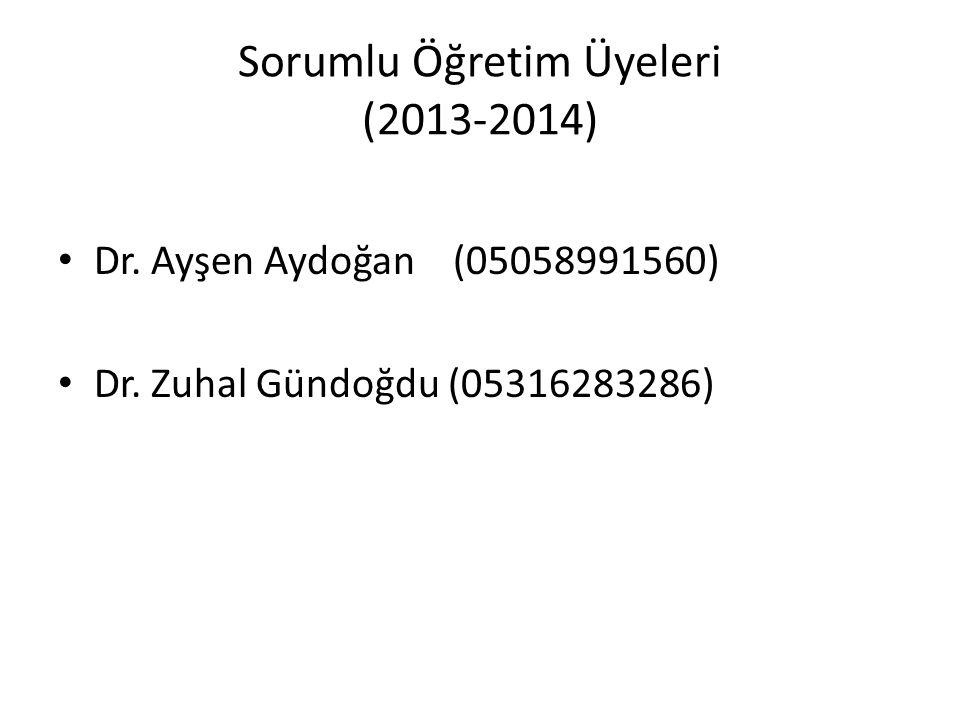 Sorumlu Öğretim Üyeleri (2013-2014) Dr. Ayşen Aydoğan (05058991560) Dr. Zuhal Gündoğdu (05316283286)