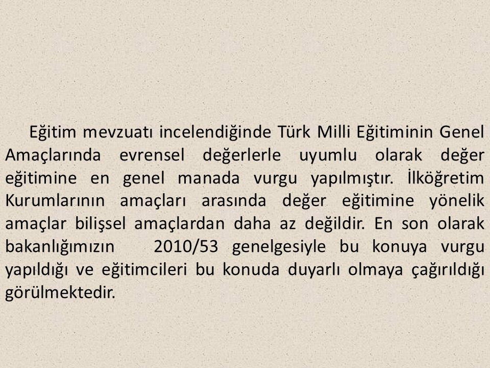 Eğitim mevzuatı incelendiğinde Türk Milli Eğitiminin Genel Amaçlarında evrensel değerlerle uyumlu olarak değer eğitimine en genel manada vurgu yapılmıştır.