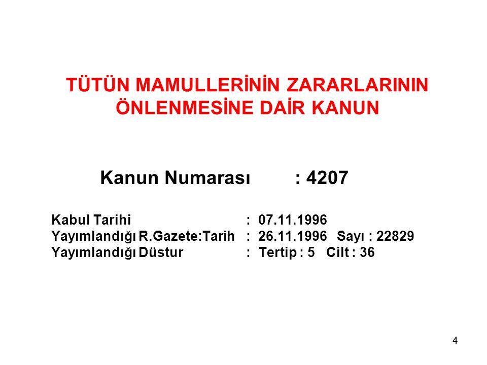 44 TÜTÜN MAMULLERİNİN ZARARLARININ ÖNLENMESİNE DAİR KANUN Kanun Numarası: 4207 Kabul Tarihi: 07.11.1996 Yayımlandığı R.Gazete:Tarih: 26.11.1996 Sayı :