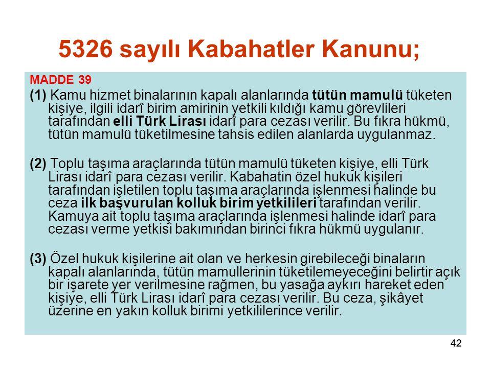 42 MADDE 39 (1) Kamu hizmet binalarının kapalı alanlarında tütün mamulü tüketen kişiye, ilgili idarî birim amirinin yetkili kıldığı kamu görevlileri t