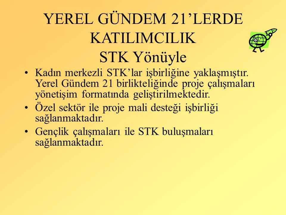 YEREL GÜNDEM 21'LERDE KATILIMCILIK STK Yönüyle Kadın merkezli STK'lar işbirliğine yaklaşmıştır. Yerel Gündem 21 birlikteliğinde proje çalışmaları yöne