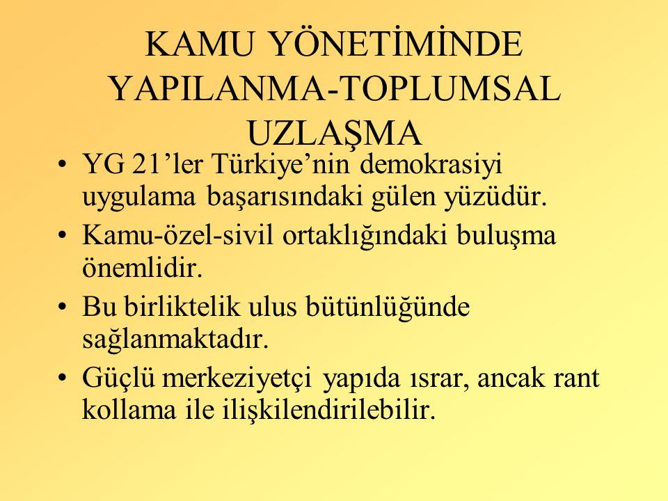 KAMU YÖNETİMİNDE YAPILANMA-TOPLUMSAL UZLAŞMA YG 21'ler Türkiye'nin demokrasiyi uygulama başarısındaki gülen yüzüdür. Kamu-özel-sivil ortaklığındaki bu