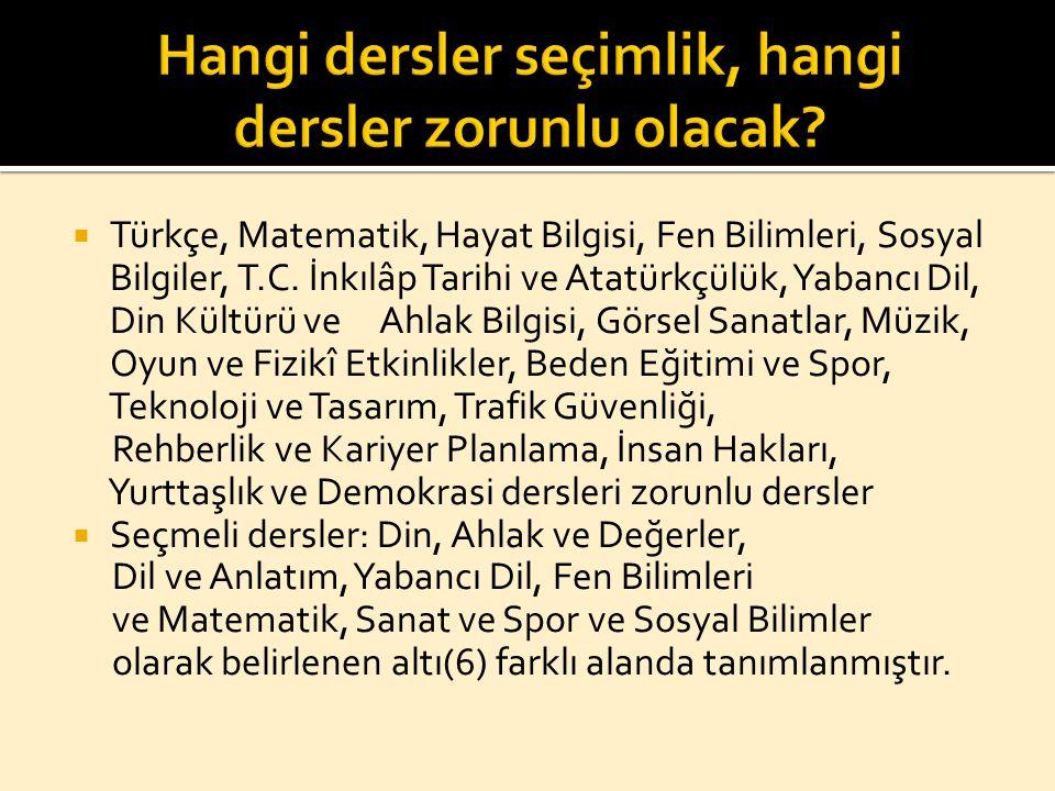  Türkçe, Matematik, Hayat Bilgisi, Fen Bilimleri, Sosyal Bilgiler, T.C. İnkılâp Tarihi ve Atatürkçülük, Yabancı Dil, Din Kültürü ve Ahlak Bilgisi, Gö