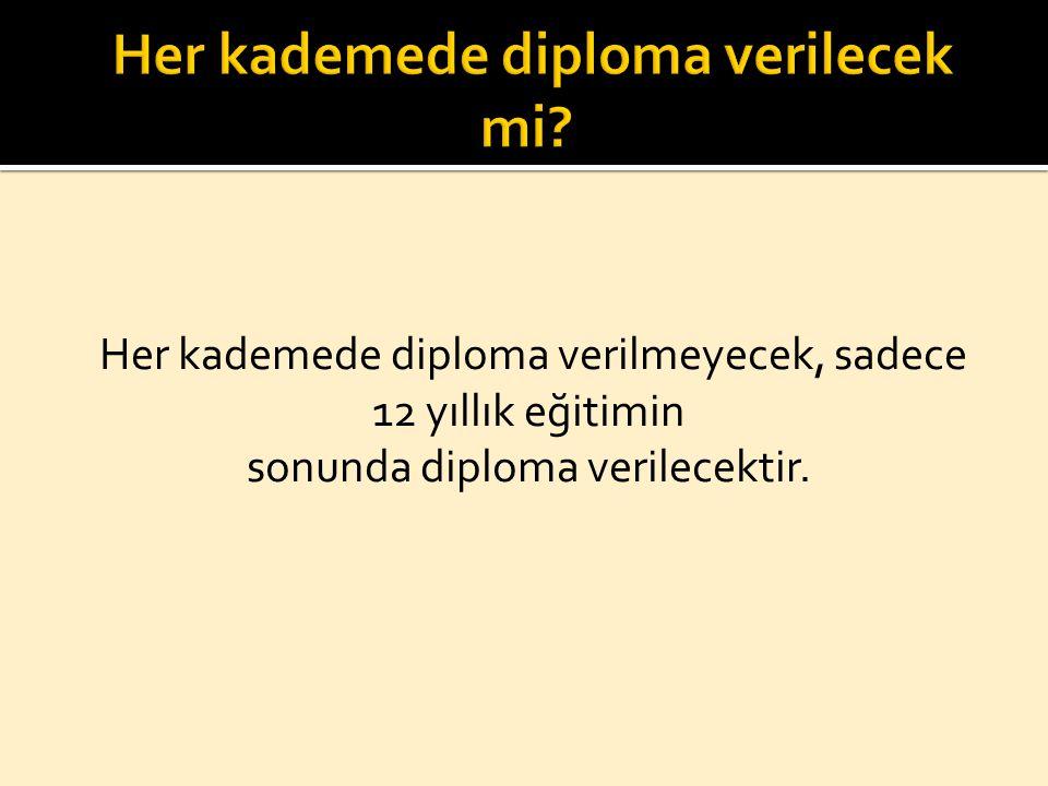 Her kademede diploma verilmeyecek, sadece 12 yıllık eğitimin sonunda diploma verilecektir.