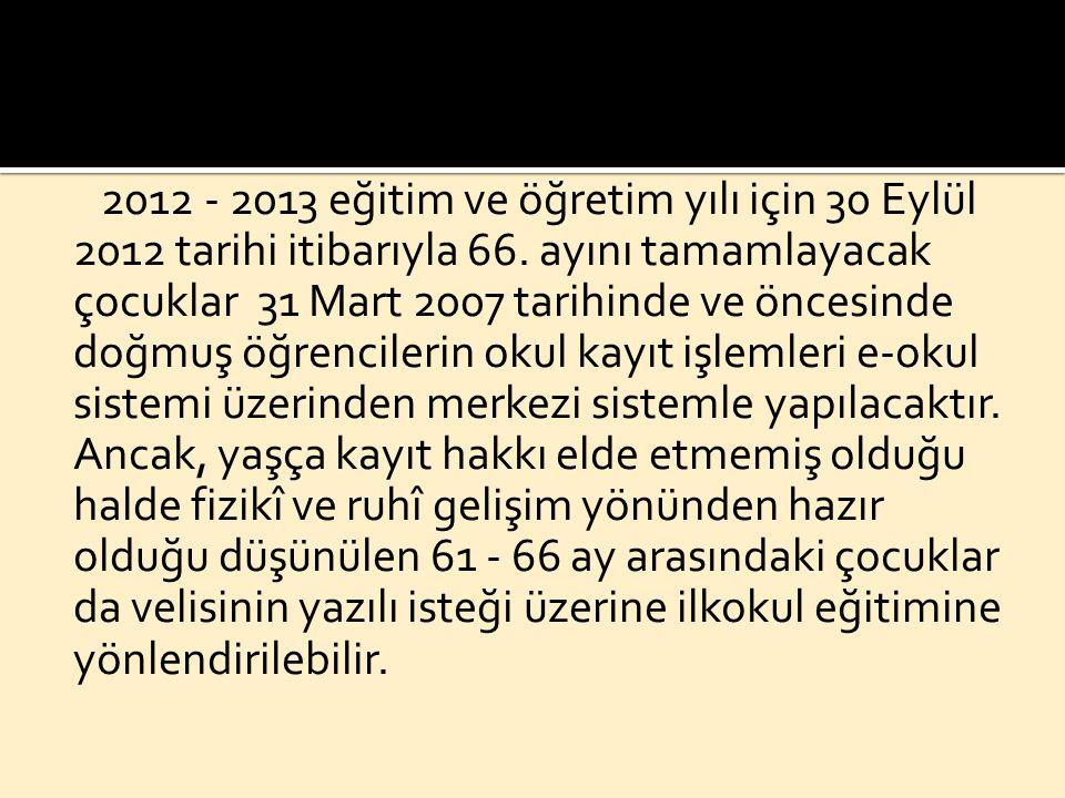2012 – 2013 eğitim ve öğretim yılı için 30 Eylül 2012 tarihi itibariyle 66.