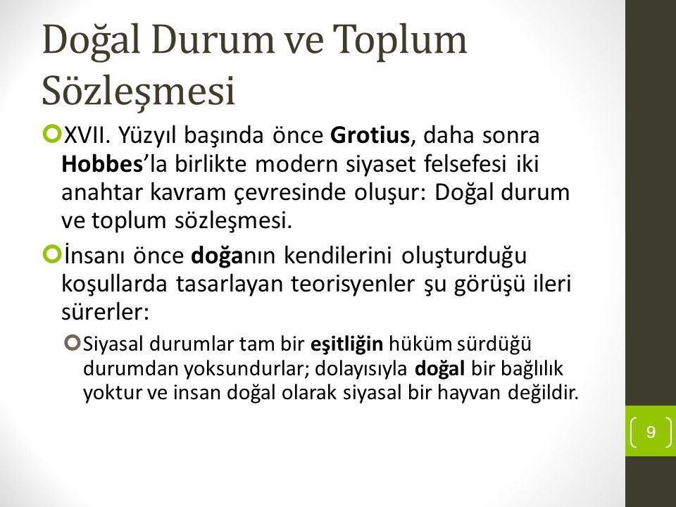 Doğal Durum ve Toplum Sözleşmesi XVII. Yüzyıl başında önce Grotius, daha sonra Hobbes'la birlikte modern siyaset felsefesi iki anahtar kavram çevresin
