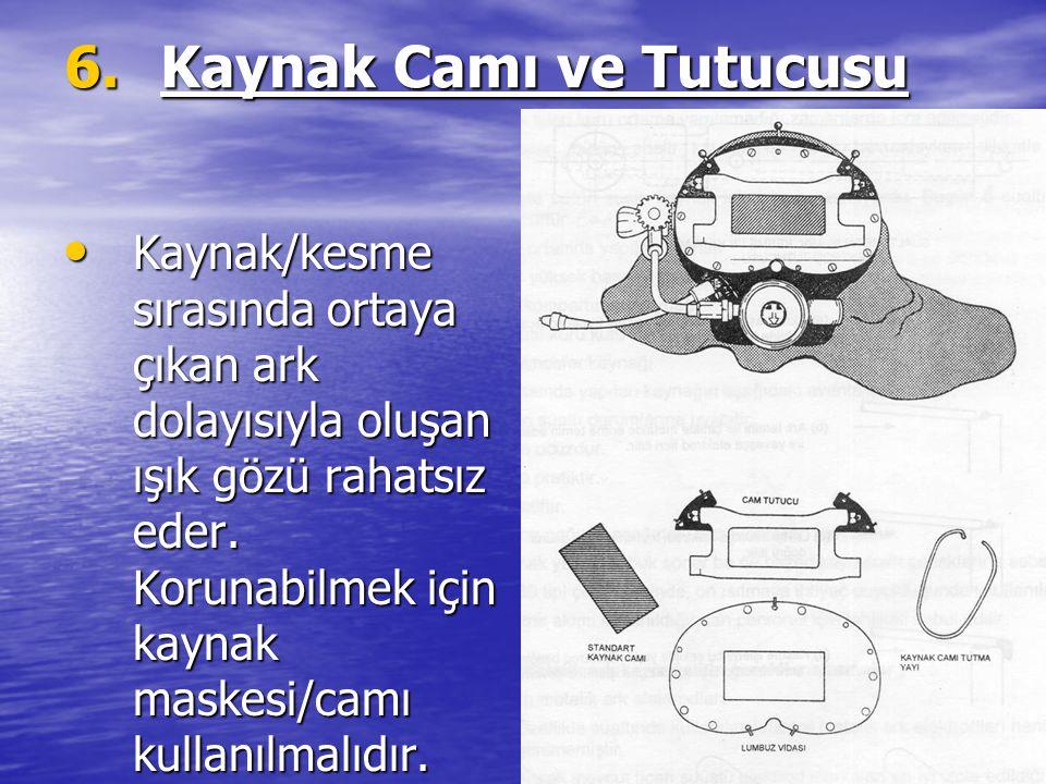 6.Kaynak Camı ve Tutucusu Kaynak/kesme sırasında ortaya çıkan ark dolayısıyla oluşan ışık gözü rahatsız eder. Korunabilmek için kaynak maskesi/camı ku