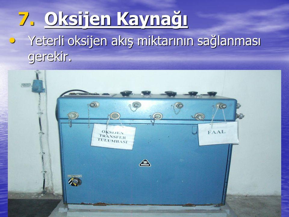 7.Oksijen Kaynağı Yeterli oksijen akış miktarının sağlanması gerekir. Yeterli oksijen akış miktarının sağlanması gerekir.