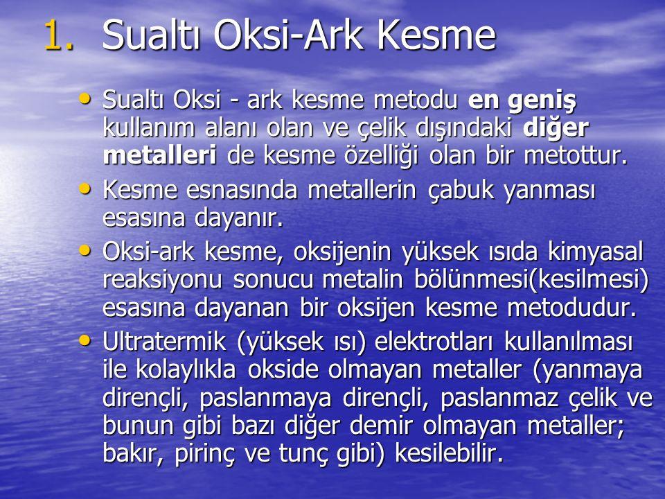 1.Sualtı Oksi-Ark Kesme Sualtı Oksi - ark kesme metodu en geniş kullanım alanı olan ve çelik dışındaki diğer metalleri de kesme özelliği olan bir meto