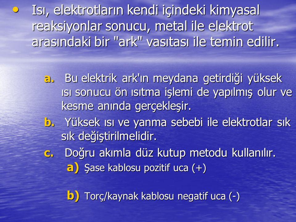 Isı, elektrotların kendi içindeki kimyasal reaksiyonlar sonucu, metal ile elektrot arasındaki bir