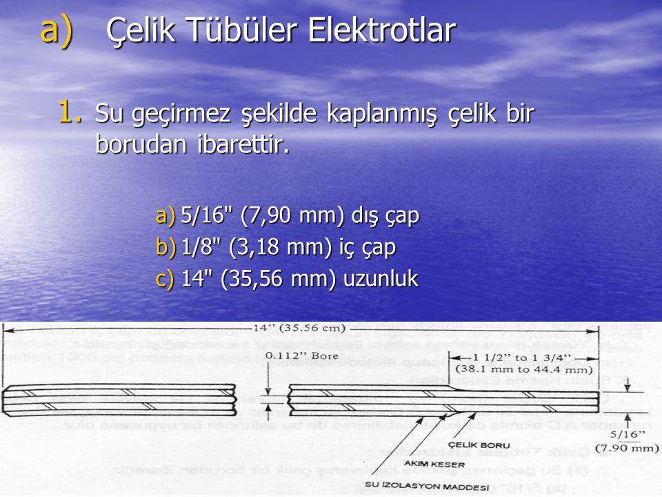 a) Çelik Tübüler Elektrotlar 1. Su geçirmez şekilde kaplanmış çelik bir borudan ibarettir. a)5/16