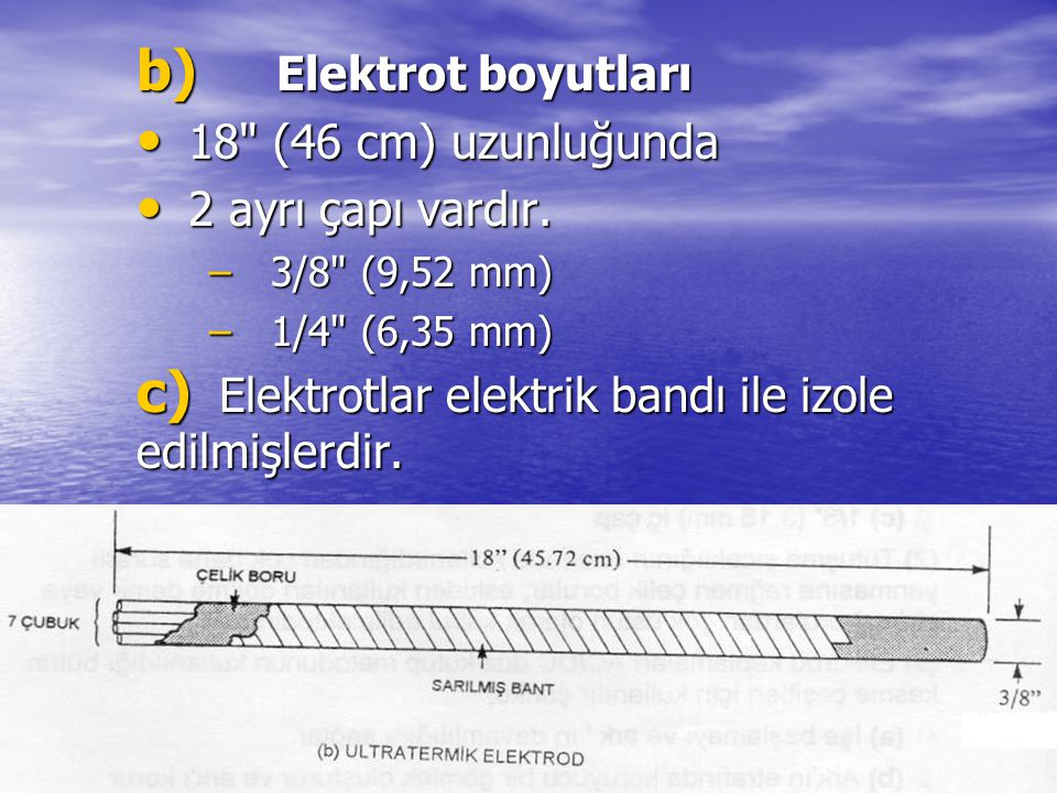 b) Elektrot boyutları 18