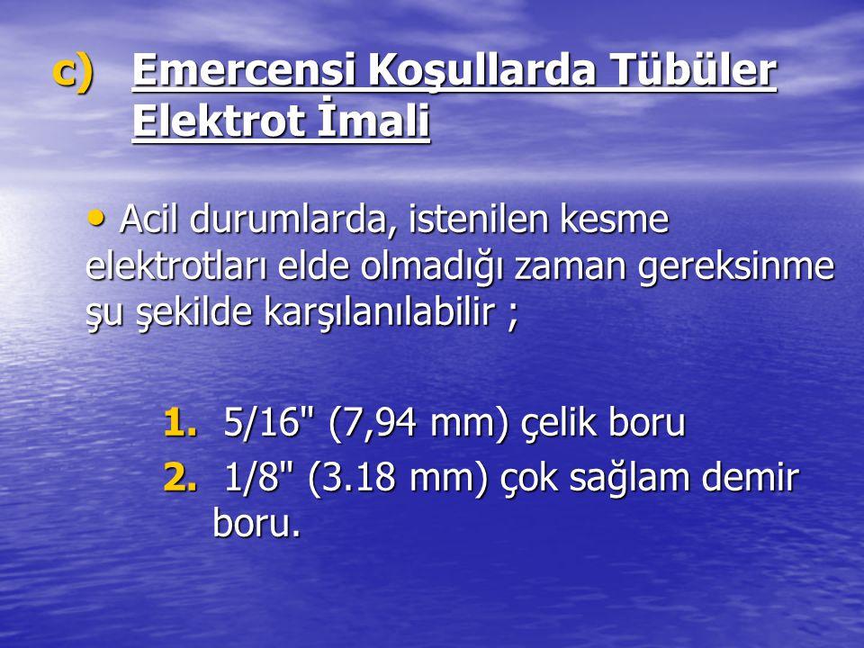 c)Emercensi Koşullarda Tübüler Elektrot İmali Acil durumlarda, istenilen kesme elektrotları elde olmadığı zaman gereksinme şu şekilde karşılanılabilir