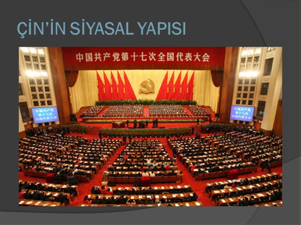  Yönetim şekli tek partili sistem olan Çin, Komünist Parti'nin egemen olduğu bir Sosyalist Cumhuriyet'tir.
