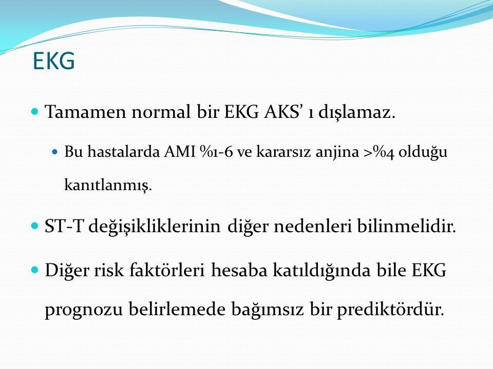 EKG Tamamen normal bir EKG AKS' ı dışlamaz. Bu hastalarda AMI %1-6 ve kararsız anjina >%4 olduğu kanıtlanmış. ST-T değişikliklerinin diğer nedenleri b