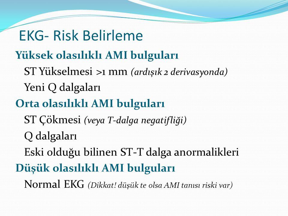 EKG- Risk Belirleme Yüksek olasılıklı AMI bulguları ST Yükselmesi >1 mm (ardışık 2 derivasyonda) Yeni Q dalgaları Orta olasılıklı AMI bulguları ST Çök