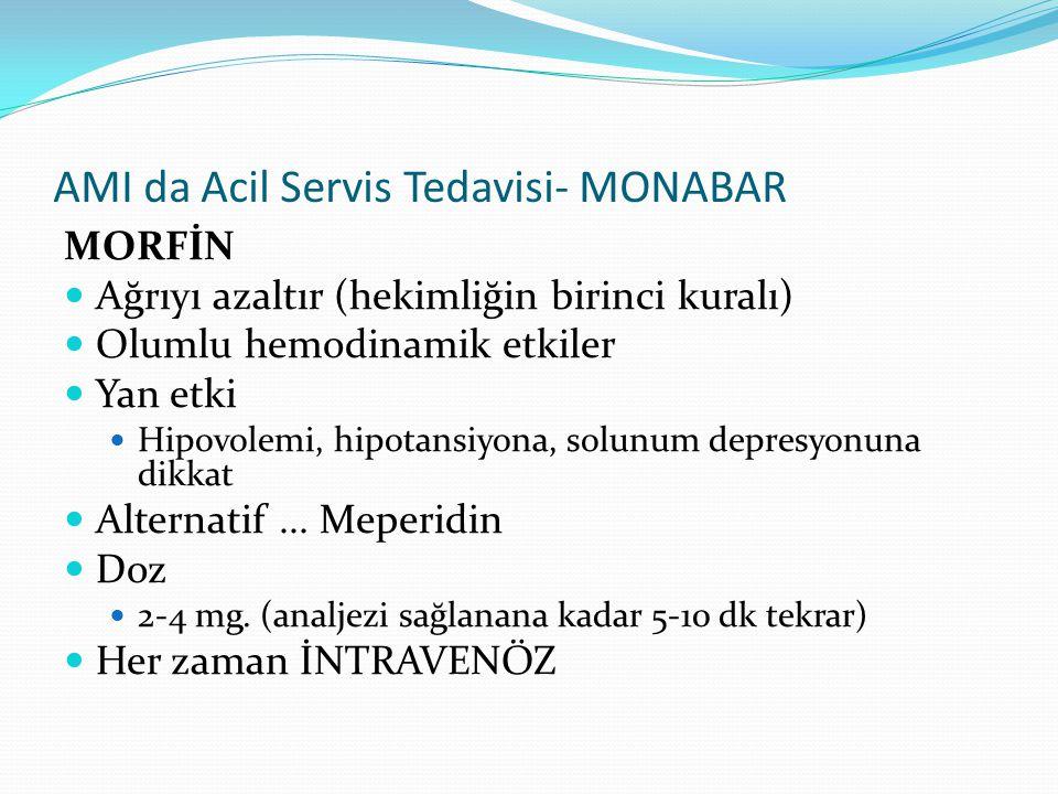 AMI da Acil Servis Tedavisi- MONABAR MORFİN Ağrıyı azaltır (hekimliğin birinci kuralı) Olumlu hemodinamik etkiler Yan etki Hipovolemi, hipotansiyona,