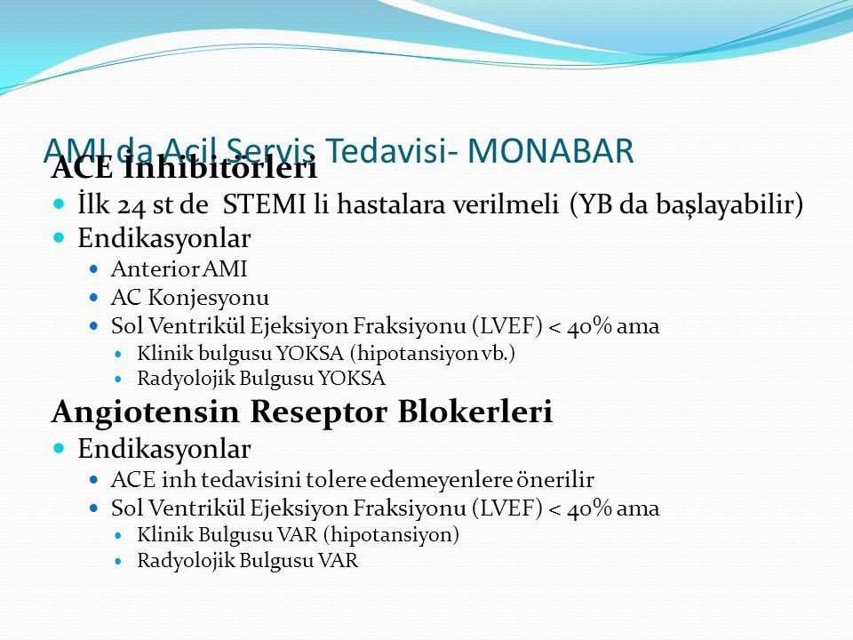 AMI da Acil Servis Tedavisi- MONABAR ACE İnhibitörleri İlk 24 st de STEMI li hastalara verilmeli (YB da başlayabilir) Endikasyonlar Anterior AMI AC Ko