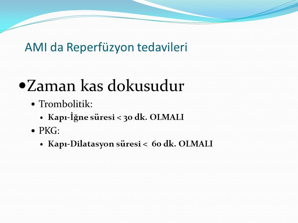 AMI da Reperfüzyon tedavileri Zaman kas dokusudur Trombolitik: Kapı-İğne süresi < 30 dk. OLMALI PKG: Kapı-Dilatasyon süresi < 60 dk. OLMALI