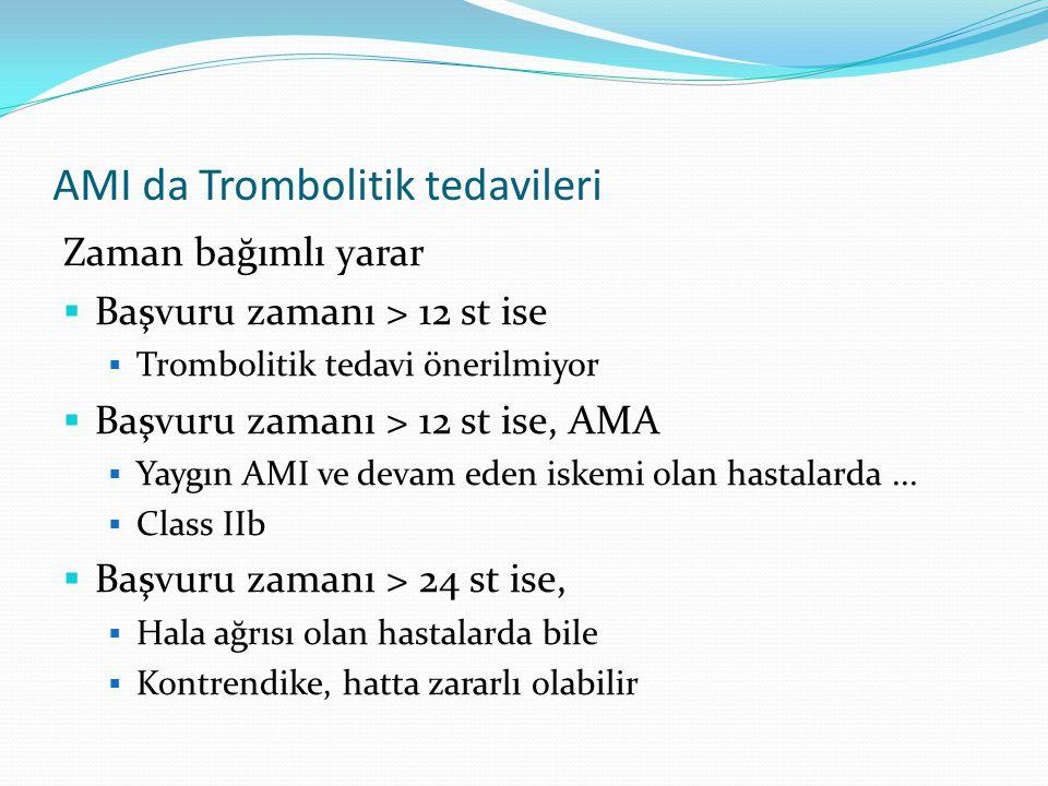 AMI da Trombolitik tedavileri Zaman bağımlı yarar  Başvuru zamanı > 12 st ise  Trombolitik tedavi önerilmiyor  Başvuru zamanı > 12 st ise, AMA  Ya