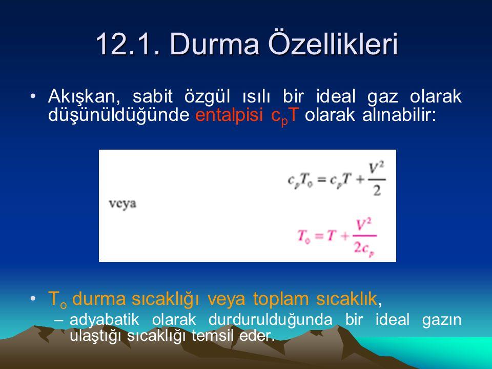 12.1. Durma Özellikleri Akışkan, sabit özgül ısılı bir ideal gaz olarak düşünüldüğünde entalpisi c p T olarak alınabilir: T o durma sıcaklığı veya top