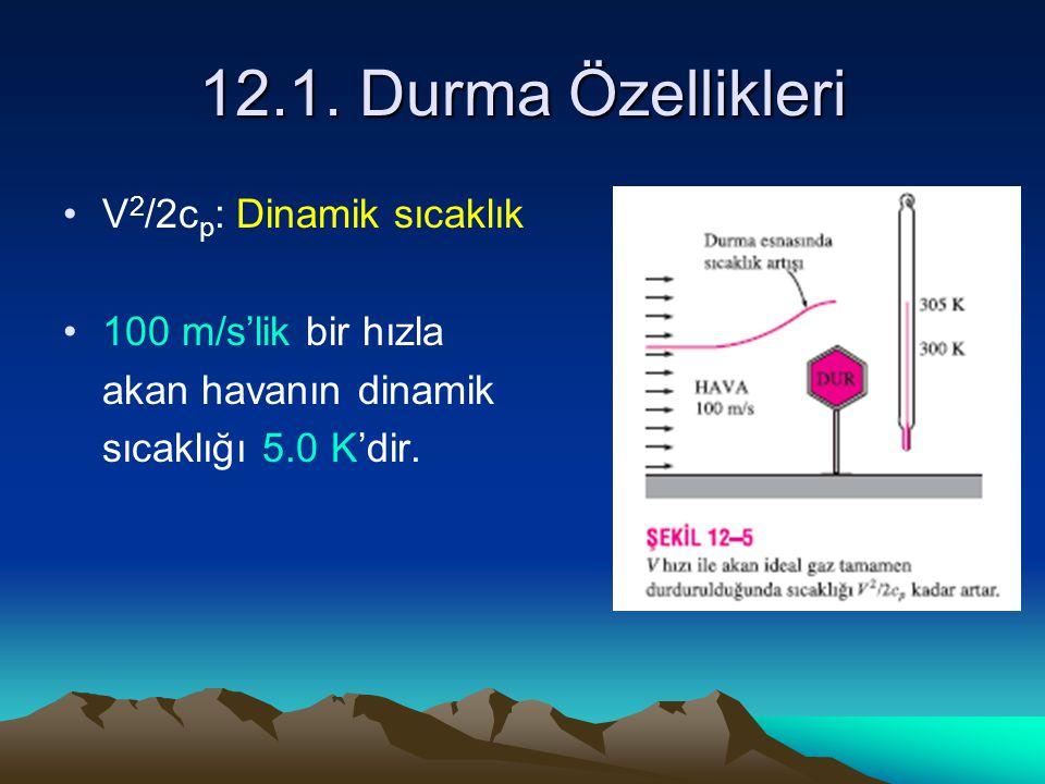 12.1. Durma Özellikleri V 2 /2c p : Dinamik sıcaklık 100 m/s'lik bir hızla akan havanın dinamik sıcaklığı 5.0 K'dir.