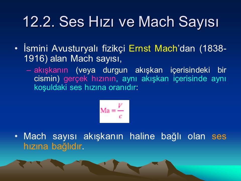 12.2. Ses Hızı ve Mach Sayısı İsmini Avusturyalı fizikçi Ernst Mach'dan (1838- 1916) alan Mach sayısı, –akışkanın (veya durgun akışkan içerisindeki bi
