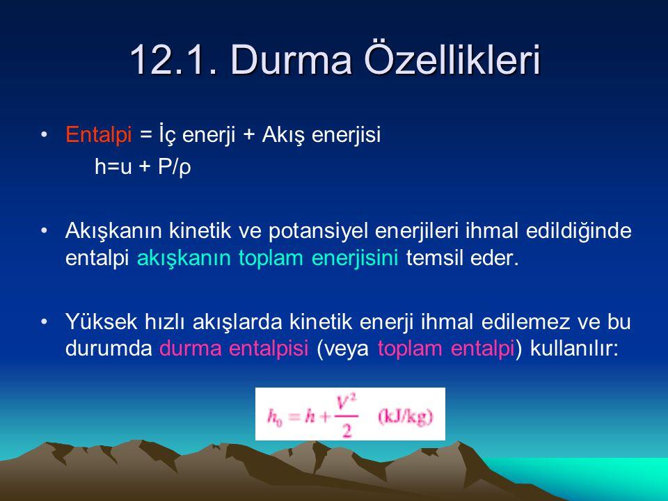 12.1. Durma Özellikleri Entalpi = İç enerji + Akış enerjisi h=u + P/ρ Akışkanın kinetik ve potansiyel enerjileri ihmal edildiğinde entalpi akışkanın t