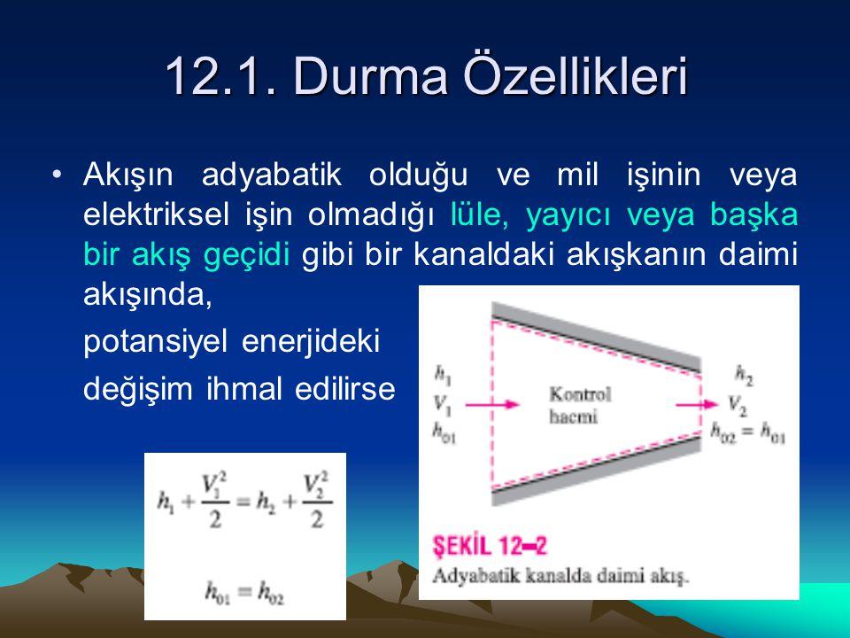 12.1. Durma Özellikleri Akışın adyabatik olduğu ve mil işinin veya elektriksel işin olmadığı lüle, yayıcı veya başka bir akış geçidi gibi bir kanaldak
